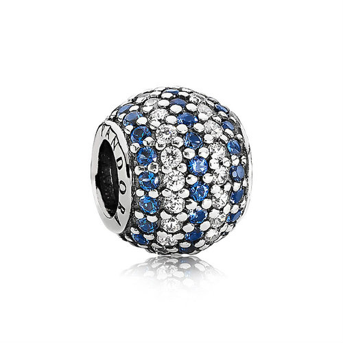 2018 Pandora Blue Nautical Striped Pavé Charm 791172NCB