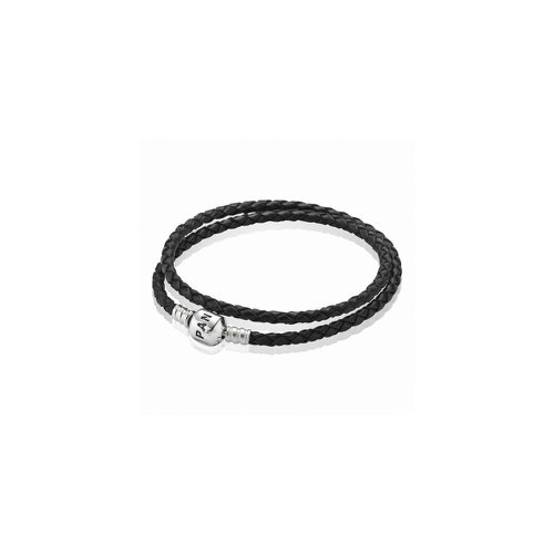 2018 Pandora Black Double Woven Leather Bracelet 590705CBK