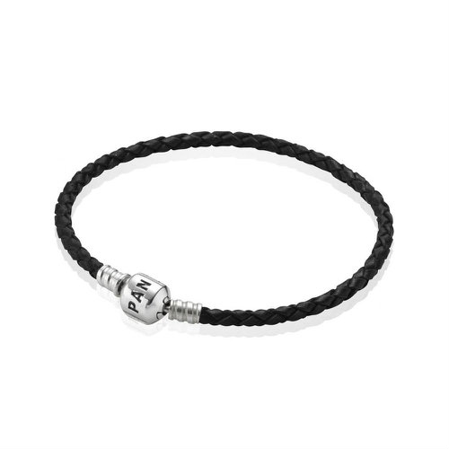2018 Pandora Black Single Woven Leather Bracelet 590705CBK
