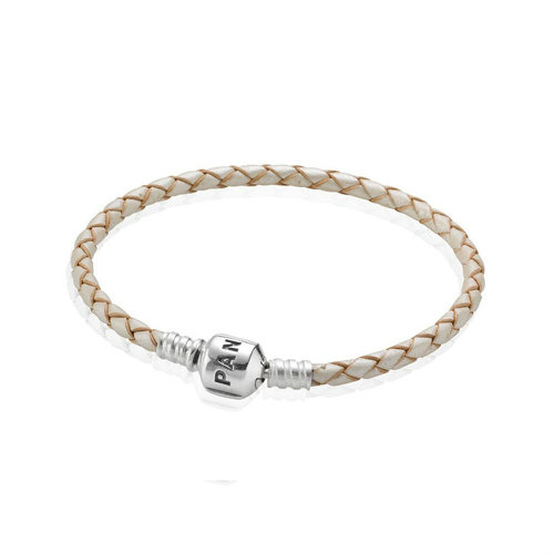 2018 Pandora Champagne Single Woven Leather Bracelet 590705CPL