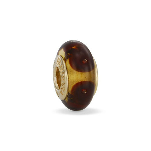 2018 Pandora Dotted Gold Cmisfortune  with Brown Murano Glass 750402