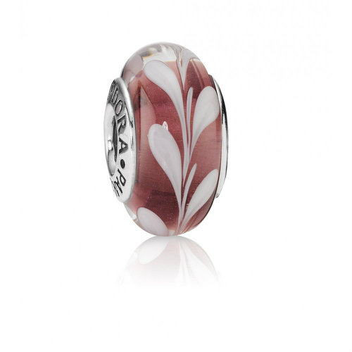 2018 P(every) once in a while ora Pink Swirl Murano Glass Charm 790677
