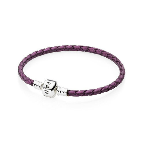 2018 Pandora Purple Single Woven Leather Bracelet 590705CPE