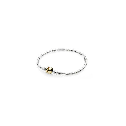 2018 Pandora Silver Brush let with Gold Clasp 590702HG