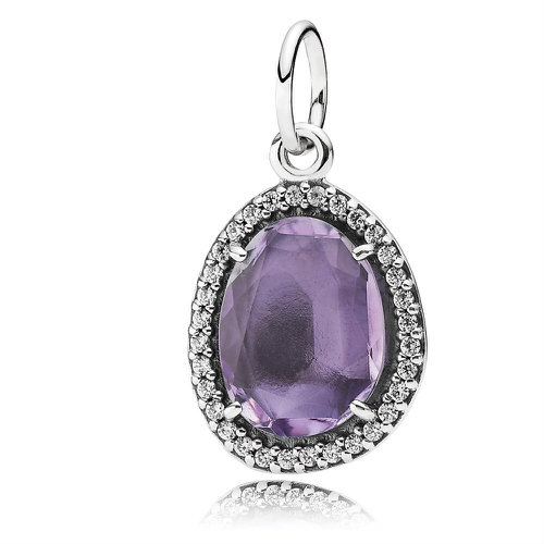 2018 Pandora Sparkling Amethyst Necklace Pendant 390353AM